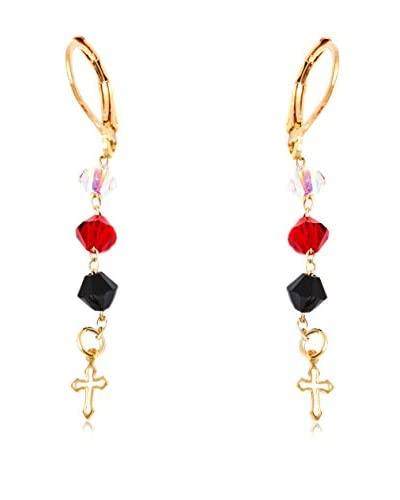 Sweet & Soft 18K Gold Plated and Crystal Elements Cross Drop Earrings