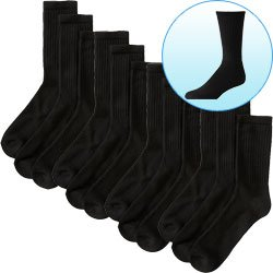 New Trademark Breathable Cotton Crew Socks Size 10-13 Black 6 Pair Great With Dress Or Casual Attire