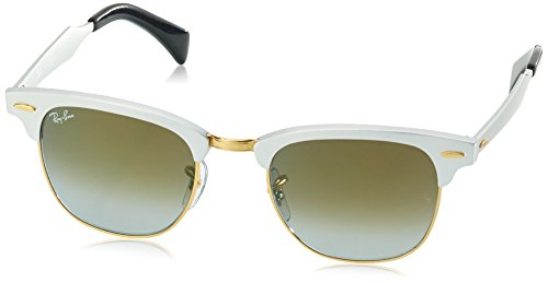 Ray-Ban-CLUBMASTER-ALUMINUM-BRUSHED-SILVER-Frame-GREEN-FLASH-GRADIENT-Lenses-49mm-Non-Polarized