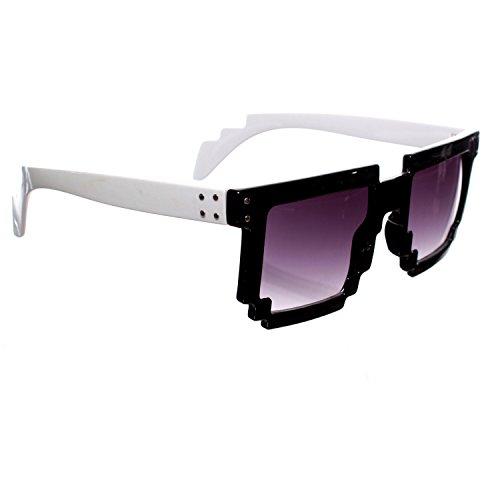 White & Black Pixelated Wayfarer Sunglasses