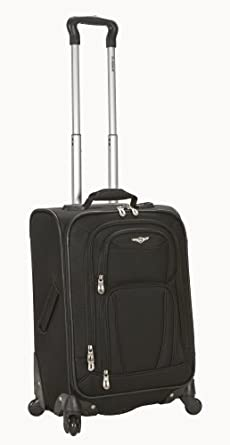 Rockland Luggage 20 Inch Spinner Carry On, Black, Medium