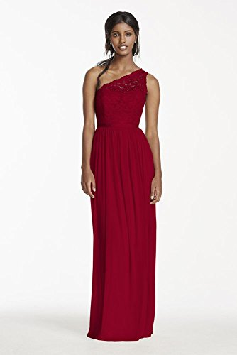 ed3d7fd0ae Long One Shoulder Lace Bridesmaid Dress Style F17063