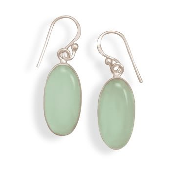 Oval Chalcedony French Wire Earrings