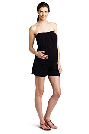 Sweet Pea Women's Pull On Romper Short, Black, Small