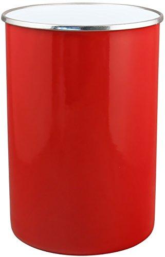 large red stainless steel enamelled utensil holder
