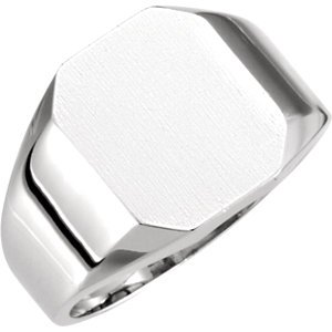14kt White 12x10mm Octagon Signet Ring ,Size- 6