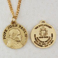 Gold Plated Pewter Pope John Paul Ii Medal with 20