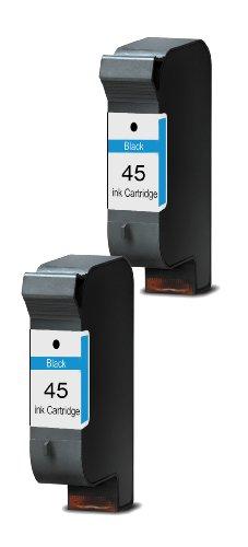 Merotoner® - 2 x Druckerpatrone für HP 45 HP Deskjet 930C 950C 959C 960C 970CXI 980CXI 990CXI 995C 1180C 1220C 1220C PS 1220CSE 1280 6120 6122 6127 9300