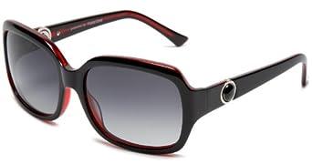 PolarOne Women's P1-6035 (C4) Polarized Square Fashion With Twisting Metal Botton On Handle Sunglasses,Shiny Black/Burgundy Frame/Grey Lens,one size