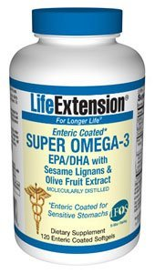 Life Extension Super Omega-3 EPA/DHA with Sesame Lignansand Olive Fruit Extract 120 enteric coated softgels ( Multi-Pack)