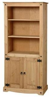 Corona solid pine 2 door bookcase