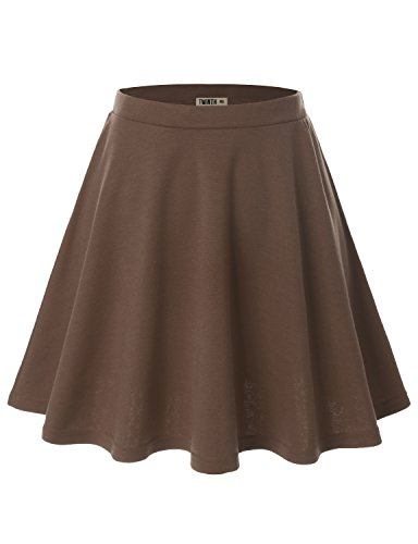 Doublju Women Plus-size Flower Print Elastic Waist Band Scuba Fabric Flared Midi Skirt Cwbss03_Mocha M (Wet Seal Tops compare prices)