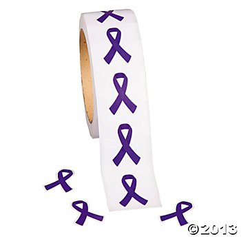 Purple Ribbon Awareness Stickers 500 per pack/Fundraiser/Awareness/Stickers/toys - 1