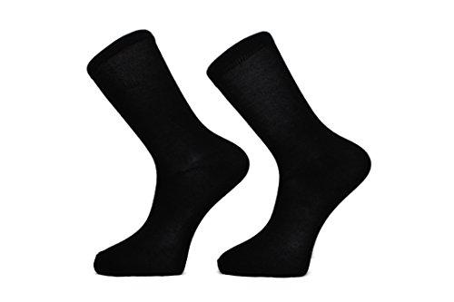 Calcetines para hombre de color negro (paquete de 10) FM Comodo, de uso diario, Con respiraderos en las pantorrillas, Diseño inteligente con puño elastico.