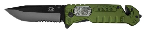 "4"" Folding Pocket Army Hero Knife - Green - 440 Stainless Steel Blade With Serrated Edge"