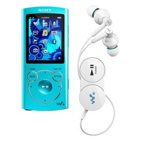 Sony NWZ-S764 NWZS764BTL Bluetooth 8GB MP3 Player with Wireless EX Heaphones, FM Radio, Voice Recording - Blue