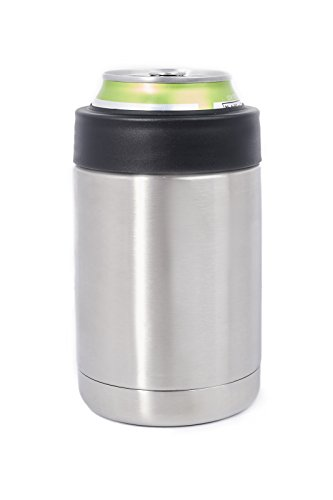 12 OZ Stainless Steel Can Bottle Beverage Holder Insulator Coaster Featuring Double Vacuum Insulation Will Keep Your Drinks Hot & Ice Cold For Hours. Fits regular sized 12 OZ Soda Cans & Beer Bottles (Beer Trash Can compare prices)