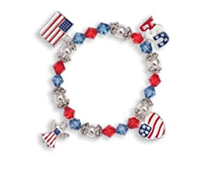 Patriotic Pride USA Stretch Charm Bracelet Wholesale
