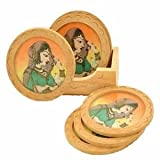 Wood Carving Six Round Hand Made Coasters with Real Crushed Gemstone (Rajasthan) By M.G.R