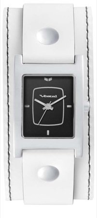 Vestal Women's EA019 Electra White Leather Black Dial Watch