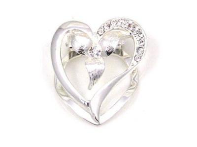Heart Shaped Silver Effect Scarf Clip, Brooch, Scarf Tie with Diamante Detail