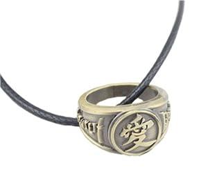 Naruto Gaara's Love Symbol ring Metal Charm Necklace pendant