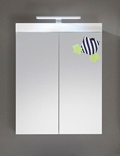 Dreams4Home Spiegelschrank 'Danam IV' Badezimmer Bad Unterschrank Schrank weiß / weiß Hochglanz, Beleuchtung:ohne Beleuchtung