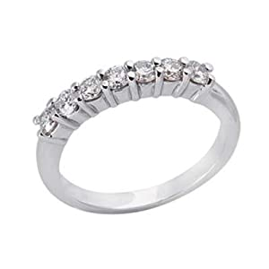 14k White Prong-Set 0.6 Ct Diamond Band Ring - Size 7.0 - JewelryWeb