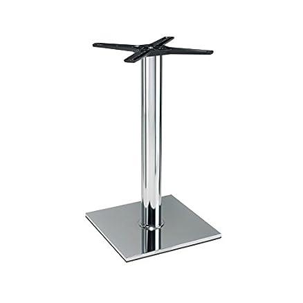 Lucci base da tavolo, altezza tavolo da pranzo, stile cromato con specchio, finitura cromata, white, 50 x 50 cm