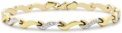 Carissima 9ct Two Colour Gold Diamond Cut Wave Link Bracelet 19cm/7.5""