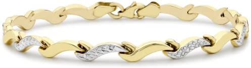 Carissima Gold 9 ct Two Colour Gold Diamond Cut Wave Link Bracelet of 19 cm/7.5-inch