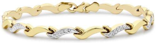 Carissima 9ct Two Colour Gold Diamond Cut Wave Link Bracelet 19cm/7.5