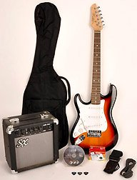 SX RST 3/4 LH 3TS Left Handed Short Scale 3 Tones Guitar Package with Amp, Carry Bag and Instructional DVD