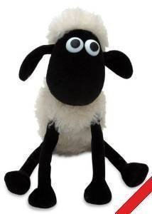 The iconic Shaun the Sheep stuffed toy + FREE unique blue yarn hat & scarf from ovevo (10 inches - 25 cm)