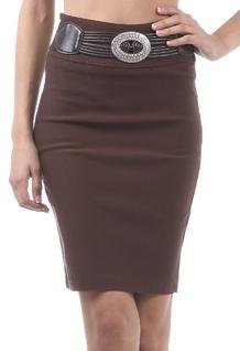 DZBeltPencil49121D Above the Knee High Waist Stretch Pencil Skirt with Rhinestone Accented Belt - Brown / S Image