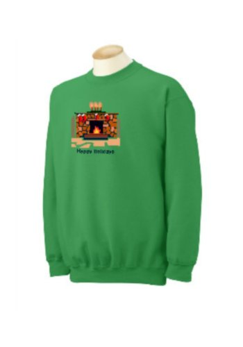 Custom Happy Holidays Fireplace & Stockings on Sweatshirt, youth large 14-16, irish green (Irish Fireplace Screen compare prices)
