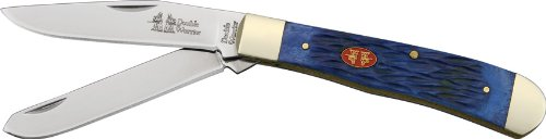Frost Cutlery & Knives Dw108Dbwj Double Warrior Trapper Pocket Knife With Dark Blue Jigged Bone Handles