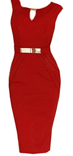 Sexy Ladies Celeb Sleeveless Slim Fashion Bodycon Party Cocktail Evening Dress (Xl=Us8, Red)