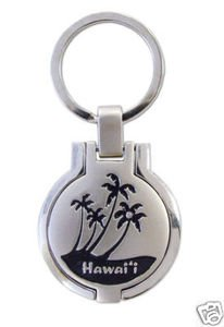 Hawaiian Key Chain Metal Photo Frame Black Palms