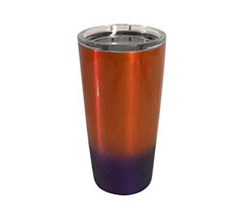 YETI Coolers 20oz Custom Powder Coated Rambler Tumbler Cup Mug with Extra Spill Proof Lid - Keeps your 20oz drink cold or hot for hours (Orange Purple Ombre Fade)
