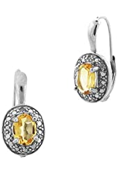 Sterling Silver Gemstone and Diamond Accent Oval Drop Leverback Earrings