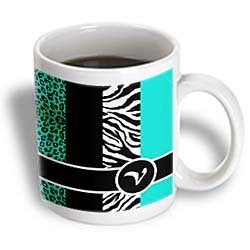 3Drose Elegant Animal Print Monogram Teal V Ceramic Mug, 15-Ounce