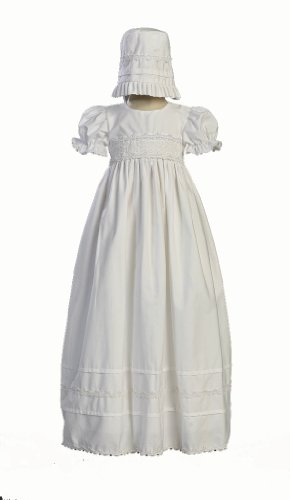 Girls Cotton Christening Gown Dresses with Bonnet Set - Baby or Infant Girl's Christening Dress - 6 Months