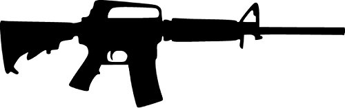 AR15 Assault Rifle US Military Vinyl Sticker Decal - 4''x9'' - Black
