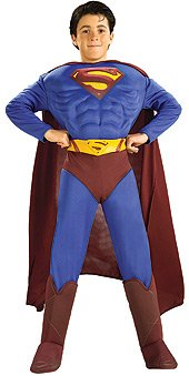 Dlx Superman Returns Muscles Costume Boys Med 7-8 NWT