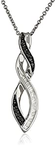 Sterling Silver Black and White Diamond Infinity Pendant Necklace (1/5 cttw), 18