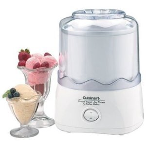 Cuisinart Frozen Yogurt Ice Cream & Sorbet Maker 1.5 Quart Bonus! 2 Freezer Bowls