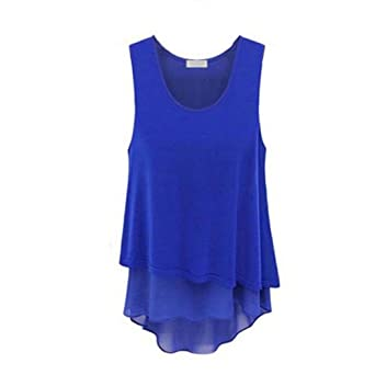 Zehui Women's Plain Lady Chiffon Tops Blouse Vest T-Shirt at Amazon