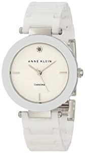 Anne Klein Women's AK/1019WTWT White Ceramic Bracelet Watch with Diamond Marker