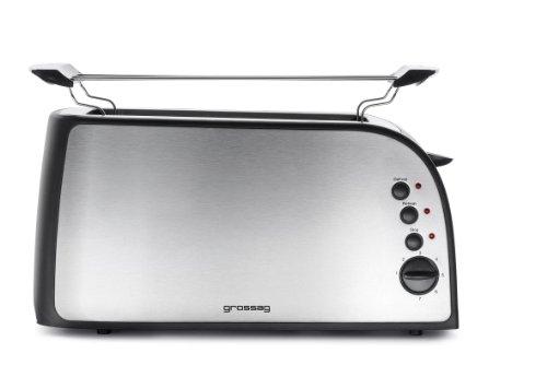 TA 41.07 Langschlitz-Toaster für 4 Scheiben / edelstahl gebürstet / Brötchenaufsatz / 1200-1500 Watt